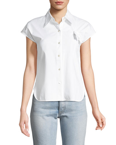 Button-Front Stretch-Cotton Shirt with Knot Detail