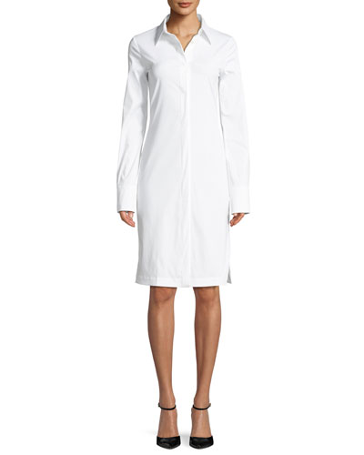 Button-Down Long-Sleeve Cotton Shirtdress
