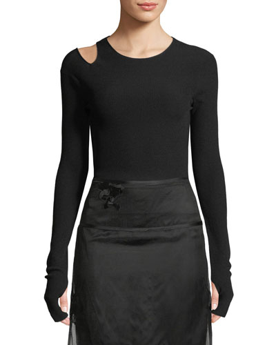 Slash Long-Sleeve Ribbed Shirt