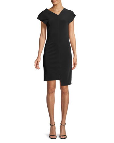 Shifted Asymmetric Short-Sleeve Dress