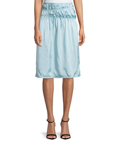 Ruched Satin Slip Skirt