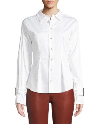 Button-Down Cotton-Sateen Belted-Cuff Shirt
