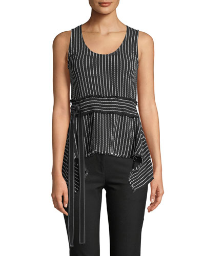 Scoop-Neck Belted Striped Tank