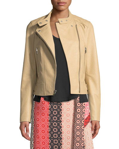 Granulated Leather Zip-Front Moto Jacket