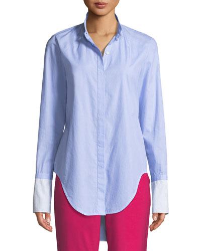 Allie Button-Front Long-Sleeve Cotton Shirt