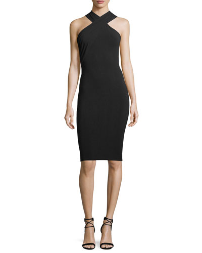 Crisscross Sleeveless Body-con Stretch-Jersey Dress