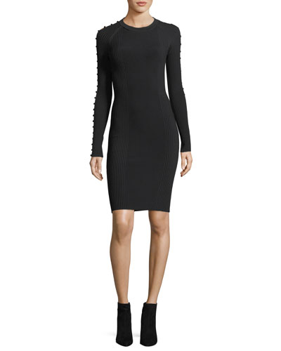 Crewneck Raglan Strap-Detail Rib-Knit Dress