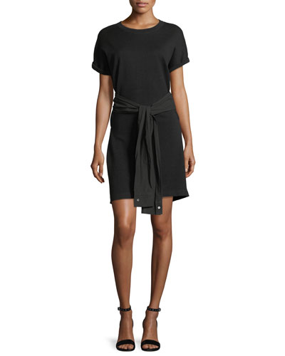 Crewneck Short-Sleeve Shirtdress with Tie Detail