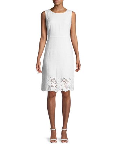 Rachel Embroidered-Trim Sheath Dress