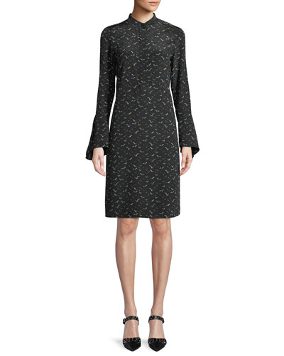 Salem Bell-Sleeve A-Line Bird-Print Silk Dress