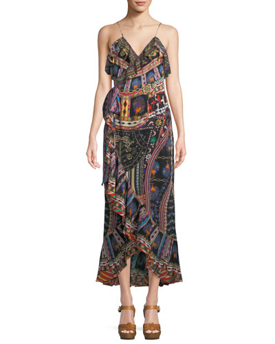 V-Neck Sleeveless Long Printed Wrap Dress w/ Frills