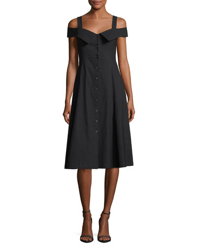 Hudson Button-Front Linen-Blend Midi Dress