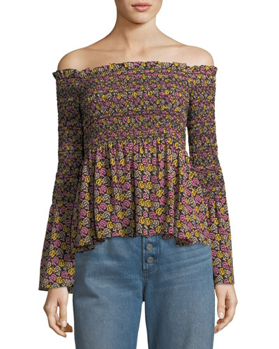 Agra Off-the-Shoulder Floral-Print Silk Top