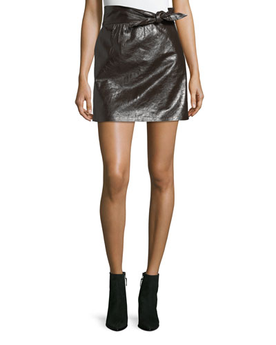 Tate Tie-Waist A-Line Leather Mini Skirt