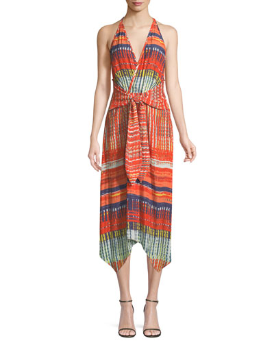 Ella V-Neck Sleeveless Tie-Front Printed Dress