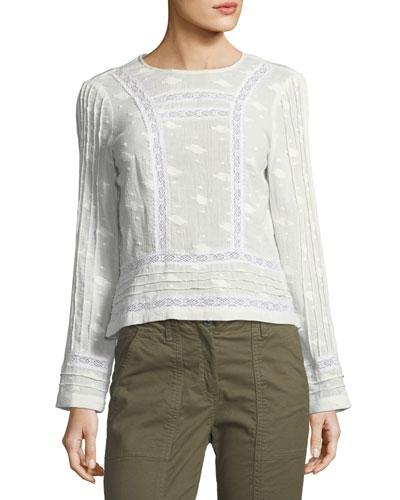 Carmen Crewneck Button-Back Cotton Blouse