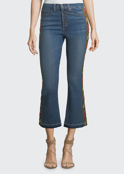Carolyn Baby Boot Cropped Jeans with Tapestry Side