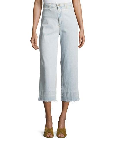 Ali High-Waist Gaucho Jeans with Released Hem