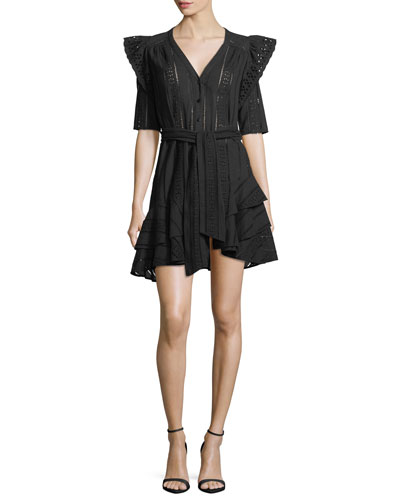 Sima V-Neck Button-Front Eyelet Lace Dress