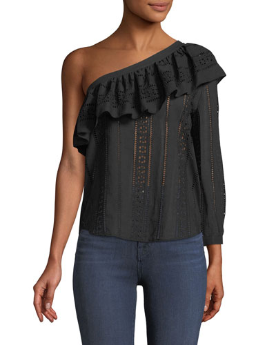 Cruz Eyelet One-Shoulder Ruffle Top