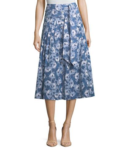 Caralina Tie-Waist Cotton Midi Skirt