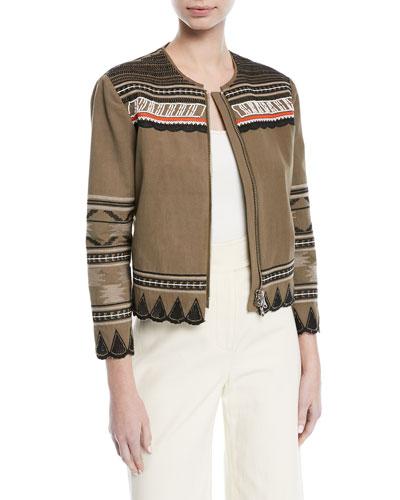 Mirasol Zip-Front Cotton Jacket