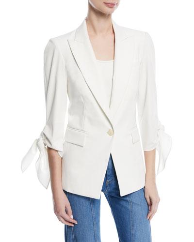 Corrine Single-Breasted Tie-Cuff Dickey Jacket