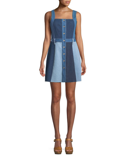 Button-Down Sleeveless Patchwork A-Line Denim Dress