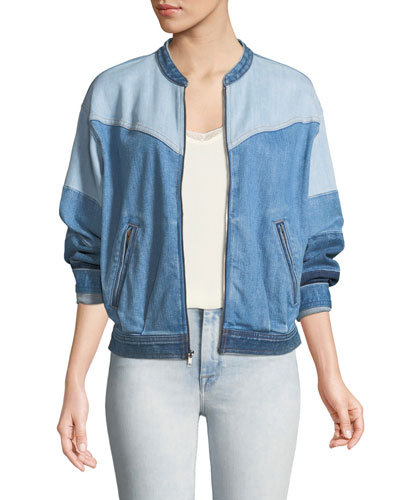 Zip-Front Patchwork Denim Bomber Jacket