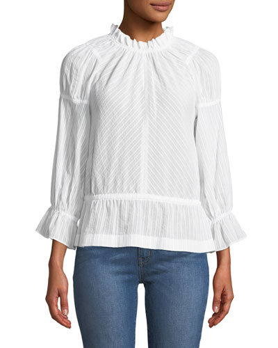 Long Bell-Sleeve Striped Cotton Blouse