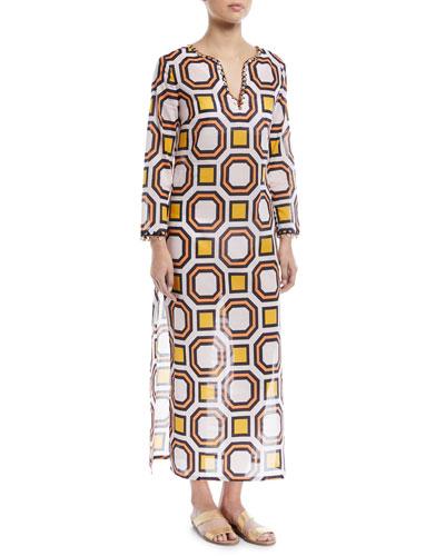 Embellished Maxi Caftan Coverup Dress