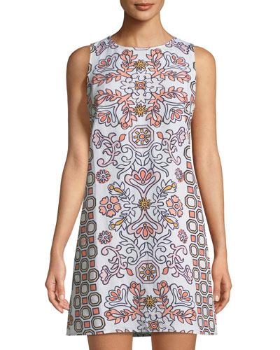 Hicks Garden Printed Linen-Blend Mini Dress in Orange