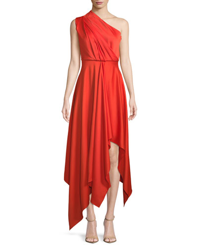 Marine One-Shoulder Draped Cocktail Dress