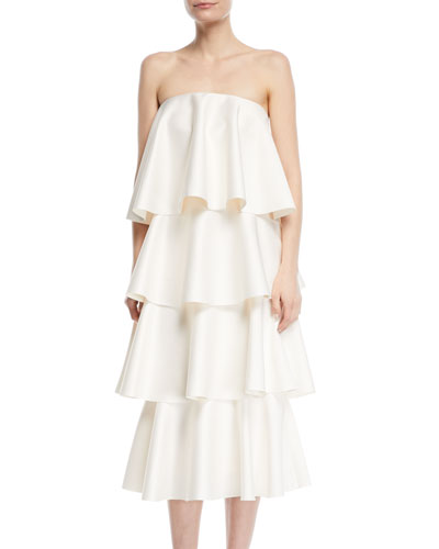 Frida Strapless Tiered Ruffled Cocktail Dress