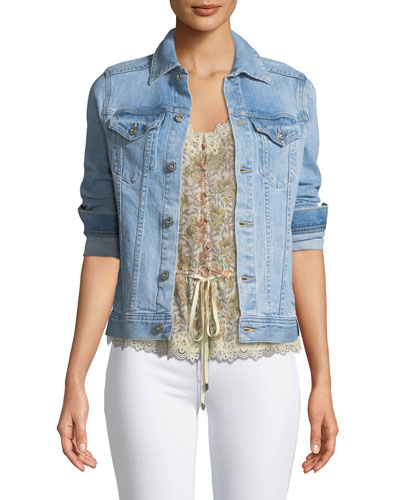 Mya Button-Front Light-Wash Denim Jacket