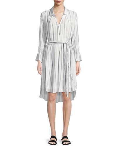 Striped Long-Sleeve Shirtdress