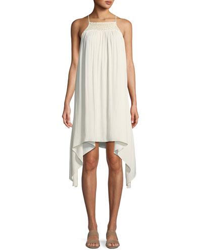 Smocked High-Neck Sleeveless Dress