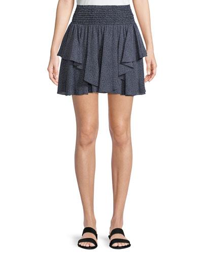 Smocked-Waist Dot-Print Mini Skirt