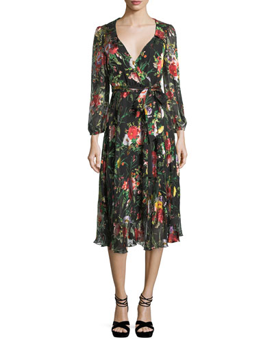 Abney V-Neck Floral-Print Wrap Shirtdress