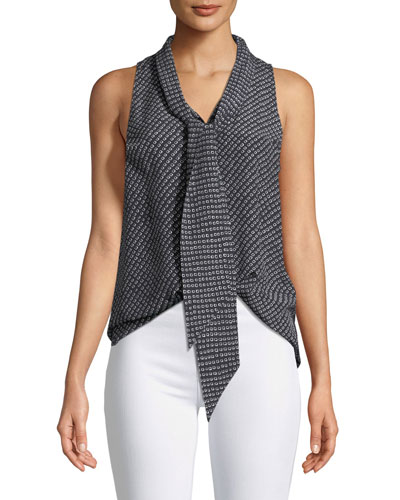 Sleeveless Box Tile Crepe de Chine Scarf Shirt
