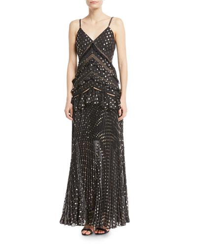 fine pleated formal dress