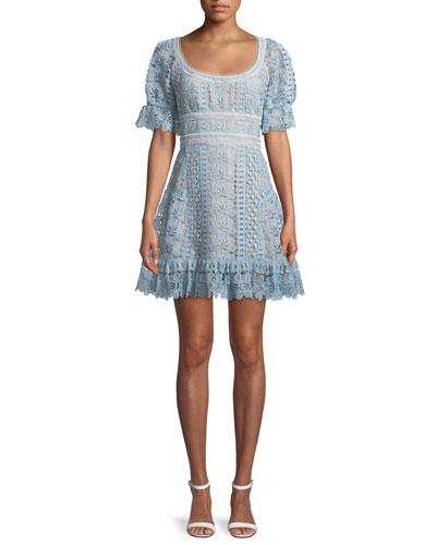 Floral Guipure Lace Short-Sleeve Mini Cocktail Dress