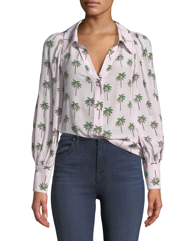 Salome Open-Neck Palm Tree Silk Blouse