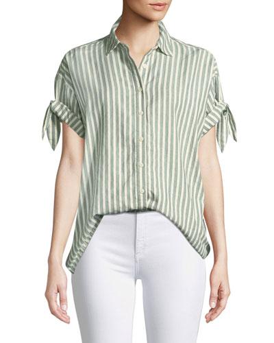 Tie-Sleeve Button-Down Striped Cotton Shirt