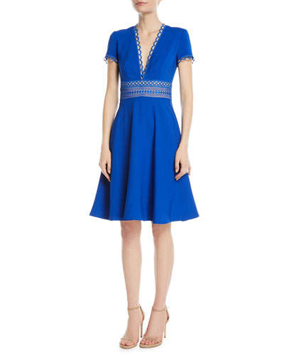Crepe Short-Sleeve Cocktail Dress w/ Lace Band