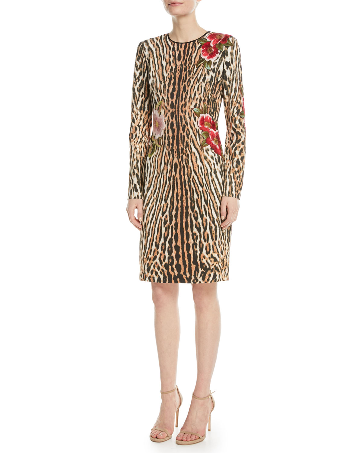 Leopard Sheath Dress w/ Floral Appliqué