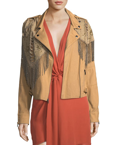 Oakridge Moto Jacket with Embellished Fringe Detail