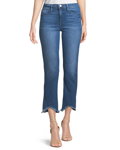 Le High Straight-Leg Jeans w/ Raw-Edge Triangle Hem