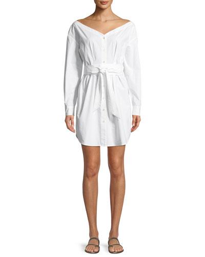 Button-Front Long-Sleeve Belted Poplin Dress