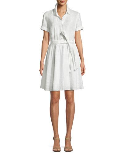 1393199c94 Short-Sleeve Button-Down Striped Linen Dress